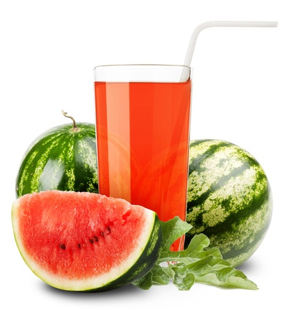 watermelon juice and slices of orange isolated on white photo