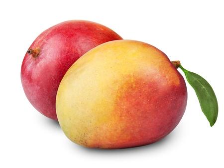 白い背景の上にマンゴー果実