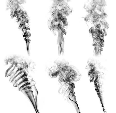 black smoke collection on white background photo