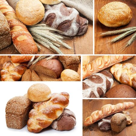 assortment of baked bread on wood table Stock Photo - 16929774