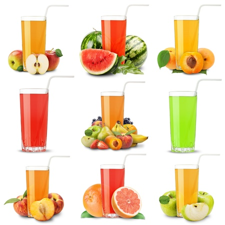 Collection of fresh juice with fruits on a white background photo