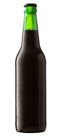 dewed: Bottle of black beer with drops on white background. Clipping Path