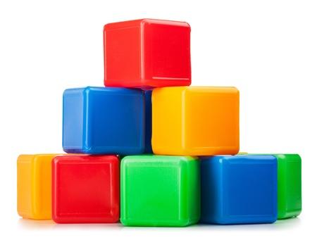 cubic: Plastic toy blocks on white background  Stock Photo