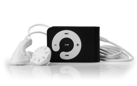 mp3: Modern MP3 player on a white background. Close up.