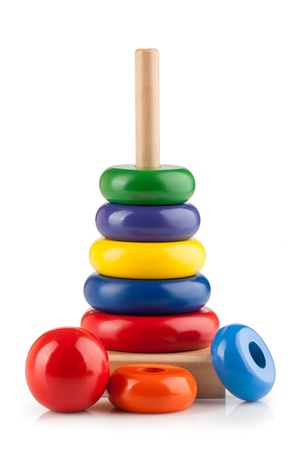 Childrens toy pyramid on white background