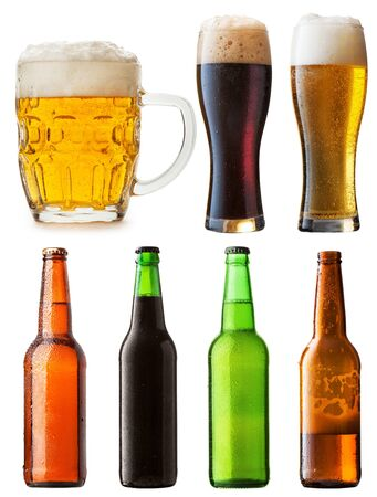 Set of bottles with beer isolated on white background  photo