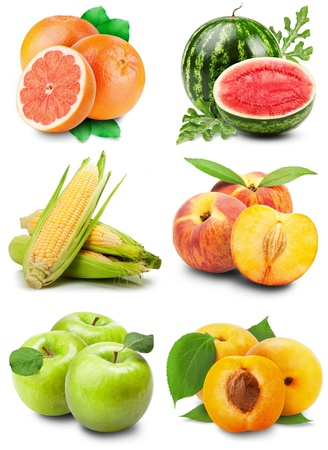 collection of fresh fruits with leaves on a white background