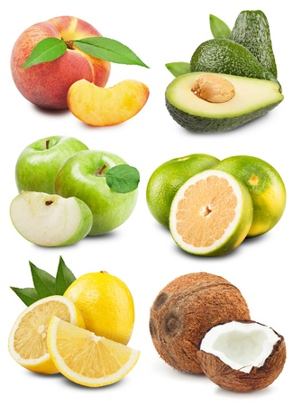 collection of fresh fruits with leaves on a white background photo