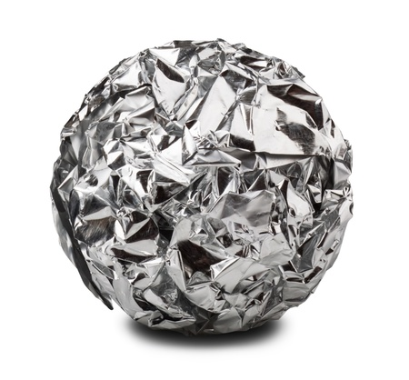aluminum paper ball isolated on a white background. Clipping Path Banco de Imagens