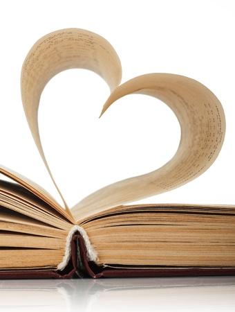 hart van de boekpagina's