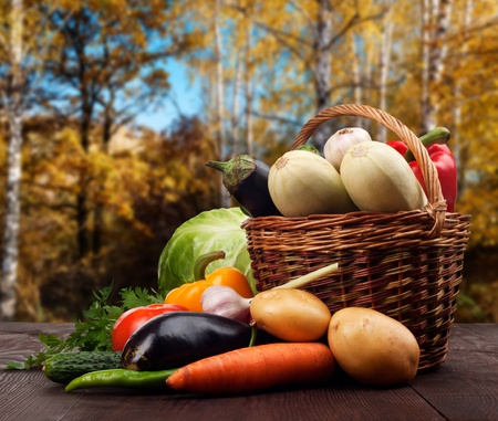 Fresh ripe vegetables in a basket on wooden table Stock Photo - 17720281