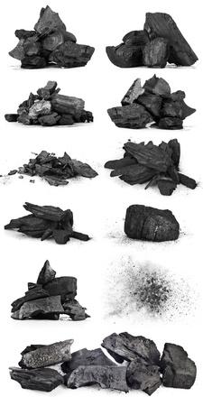 フラクチャされた木材石炭白い背景で隔離の部分 写真素材