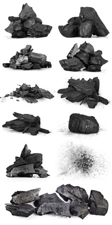 anthracite coal: Piece of fractured wood coal isolated over white background