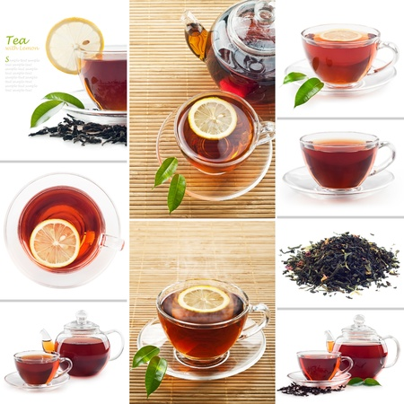 Hot black tea with lemon and Kettle photo