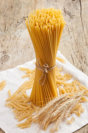 close up on assortment of uncooked pasta  photo