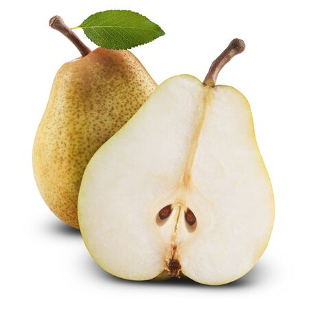 Ripe pears isolated on white background. Clipping Path photo