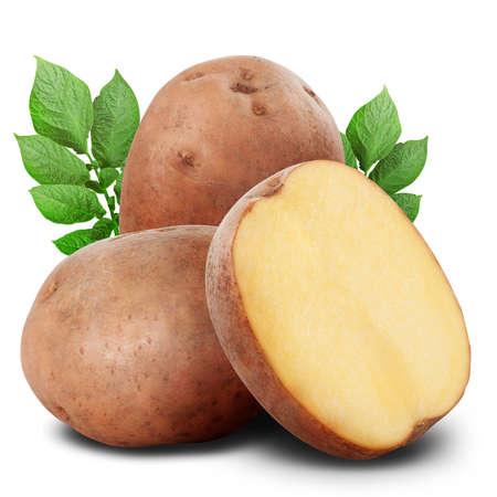 PURE: Manojo de patatas en el fondo blanco. Trazado de recorte