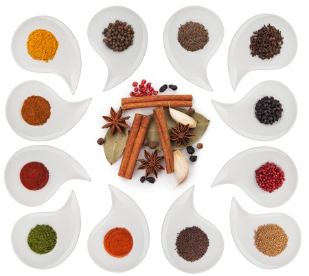 Aromatic spices on a plate on a white background. Clipping Path photo
