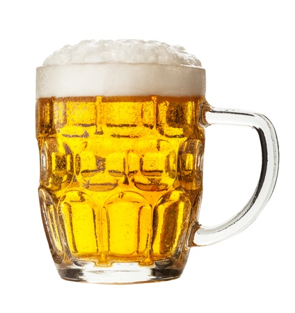 glass of beer on a white background. Clipping Path photo