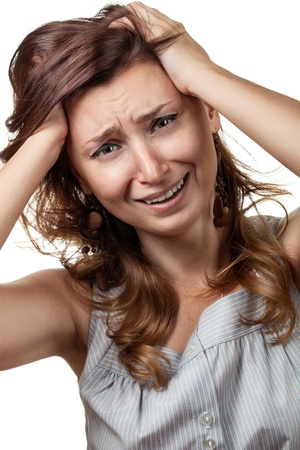 hysterical: Hysterical, crying, depression. Emotions woman on a white background Stock Photo