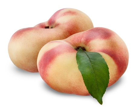 ripe fig peach with half and leaves isolated on white background. Clipping Path Stock Photo - 21014887