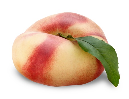 ripe fig peach with half and leaves isolated on white background. Clipping Path photo