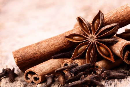 christmas scent: Different spices, Cinnamon, anise on wooden old table