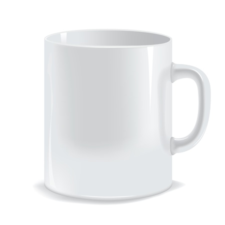 photorealistic white cup. Image contains gradient mesh Vector
