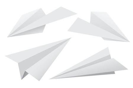 Vector set of paper planes isolated on white background.