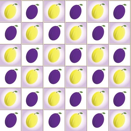 Ripe plums pattern, vector background Vector