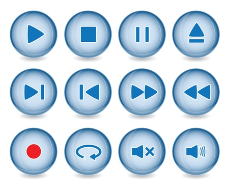pause button: Media player buttons collection