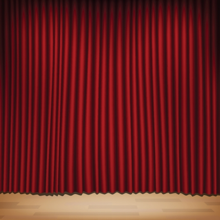 red curtain: Seamless red curtain with stage. Image contains gradient mesh