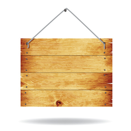 Wooden sign with rope hanging on a nail. Image contains gradient mesh Vector