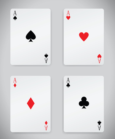 poker hand: winning poker hand of four aces playing cards suits Illustration
