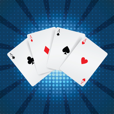 aces:  four aces playing cards suits on blue. Image contains gradient mesh
