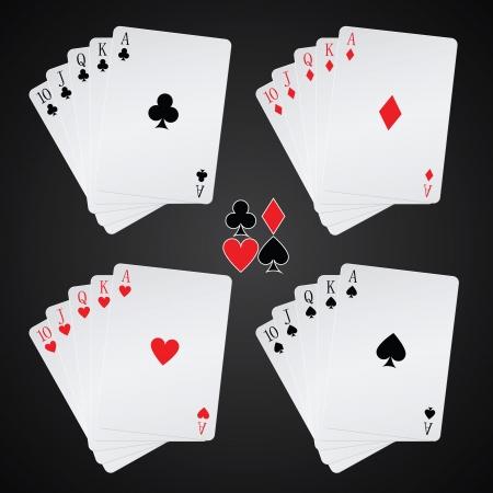 royal flush speelkaarten op zwarte achtergrond