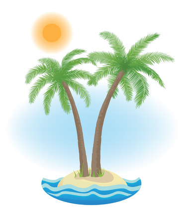 breakers: tropical palm on island with sea waves vector illustration