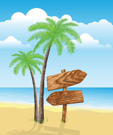 Landscape with palms and wooden sign. Transparency used Vector