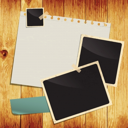 notes: Empty white paper sheet and blank photo on wooden background. Image contains gradient mesh  Illustration