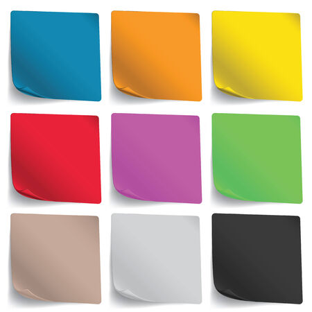 Multicolored Note Paper on white background