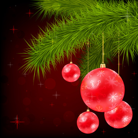 Background with Christmas tree, bells and snowflakes. Image contains gradient mesh Vector