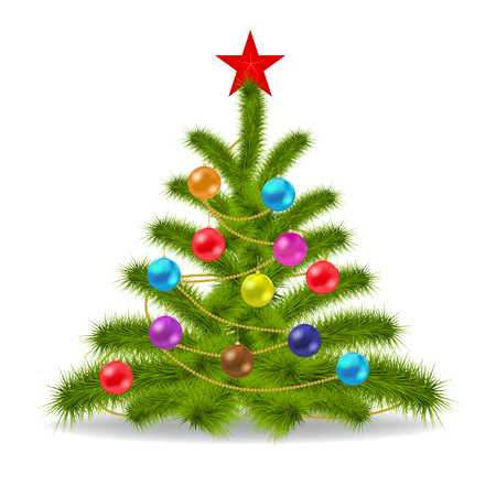vector illustration of decorated Christmas tree. Image contains gradient mesh Vector