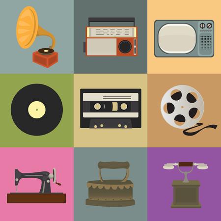 Retro style icons. Nostalgic Design