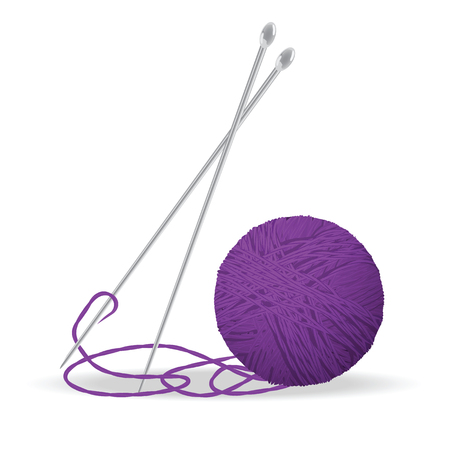 yarns: Skeins of wool and knitting needles. Transparency used