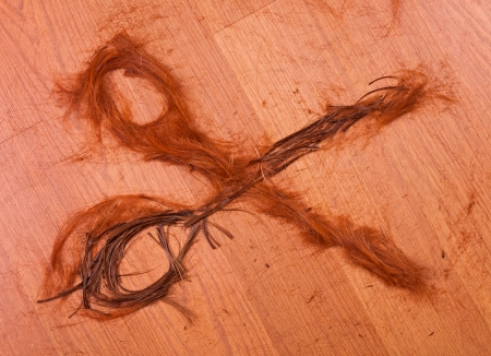 cropped hair in the form of scissors on wooden background photo