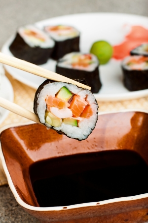 philadelphia roll: Fresh Homemade Sushi Roll against a background