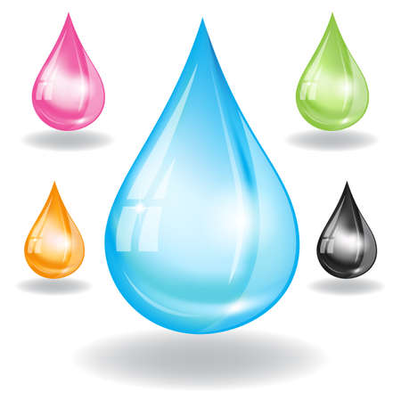 set of water drops. Image contains gradient mesh Vector