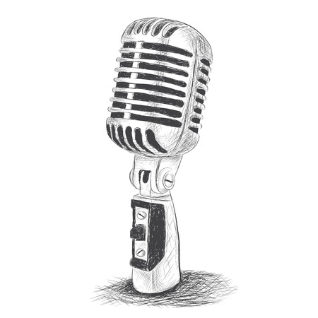 Hand drawn studio microphone on white background Vector