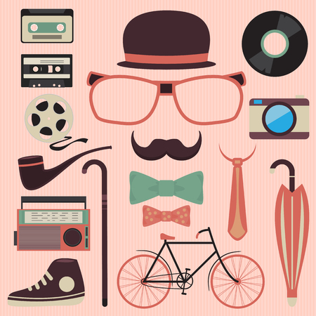 Hipster design with hipster elements and icons Vector illustration  Vector