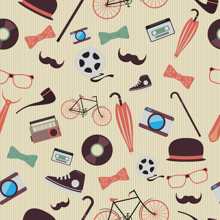 Hipster design with hipster elements and icons  Seamless pattern Vector